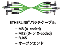 ETHERLINE(R)バッチケーブル -M8 (A-coded), M12 (D- or X-coded), RJ45, オープンエンド